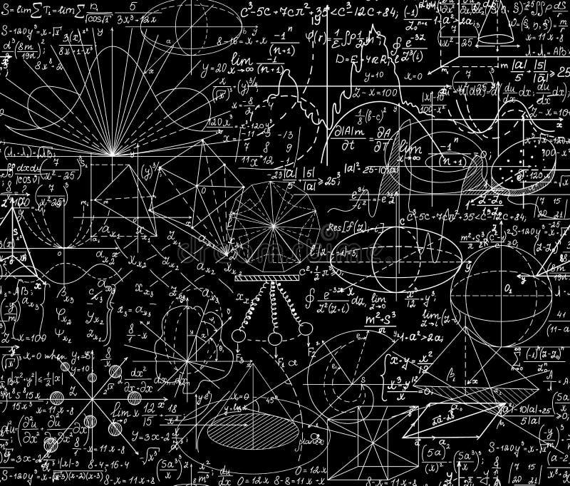 Nahtloses Muster des schönen Vektors des Vektors mathematischen mit geometrischen Zahlen, Formeln und Gleichungen, zusammen gesch stock abbildung