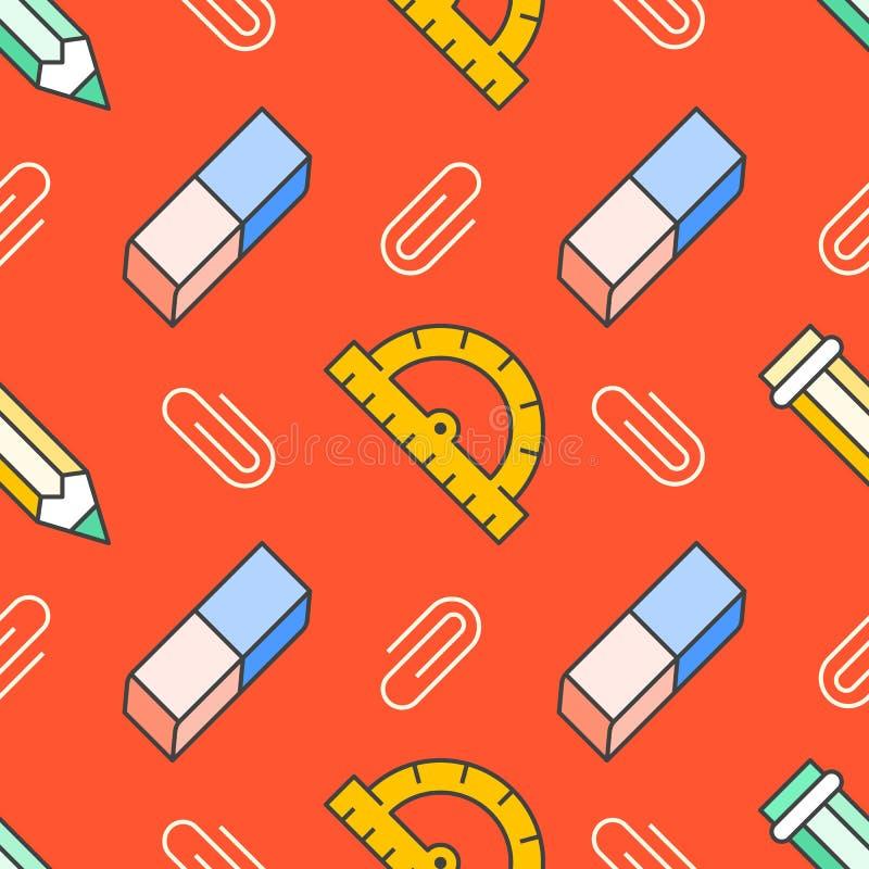 Nahtloses Muster des Schulbedarfs mit Linie Ikonen Studie bearbeitet Hintergrund - Bleistift, Machthaber, Radiergummi, Clipvektor lizenzfreie abbildung