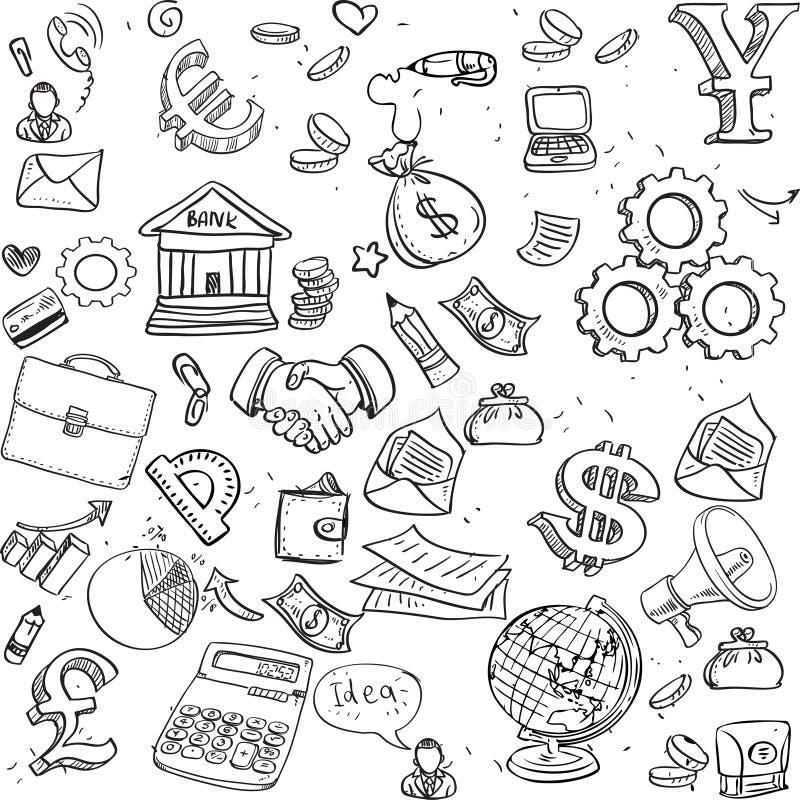 Nahtloses Muster des Schwarzen kritzelt auf Geschäftsthema 3 lizenzfreie abbildung