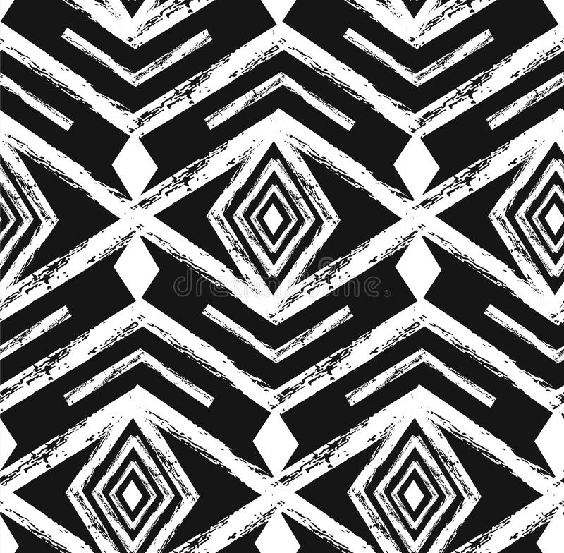 Nahtloses Muster des schwarzen Stammes- Navajovektors mit Gekritzelelementen Aztekischer abstrakter geometrischer Kunstdruck ethn lizenzfreie abbildung