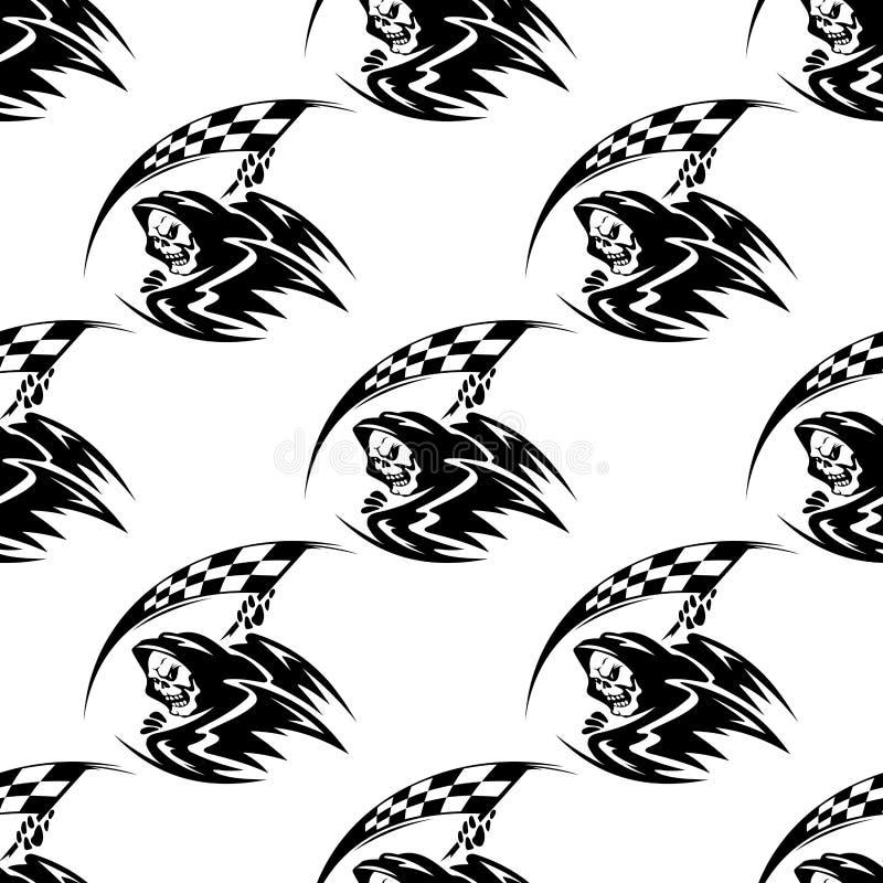Nahtloses Muster des schwarzen Todes mit Sense stock abbildung