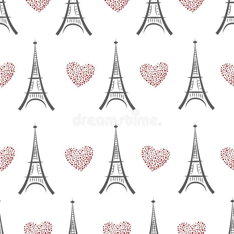 Nahtloses Muster des Schwarzweiss-Eiffelturms vektor abbildung