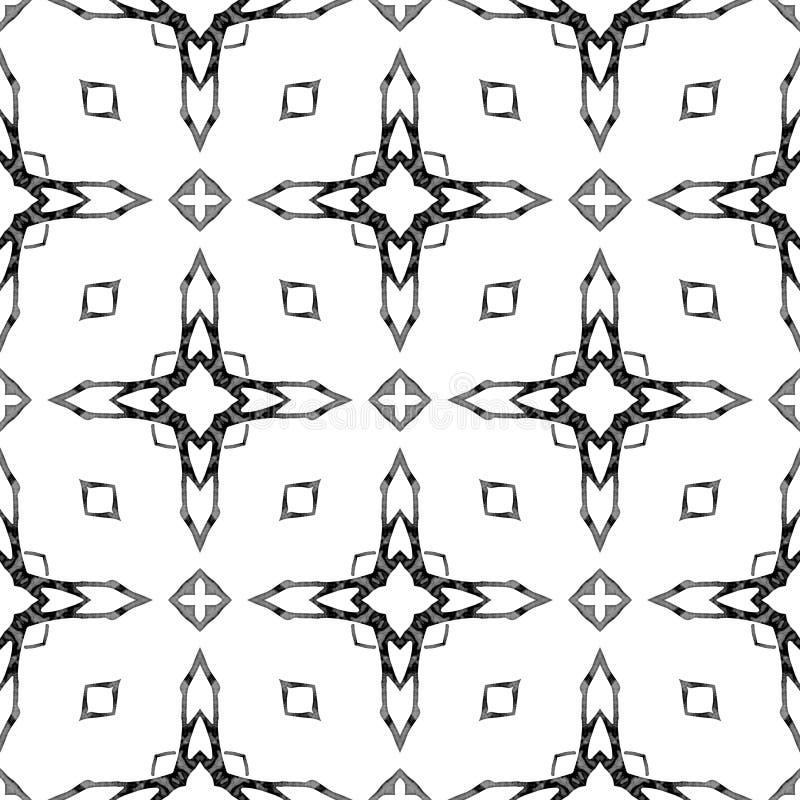Nahtloses Muster des Schwarzweiss-Medaillons Hand d vektor abbildung