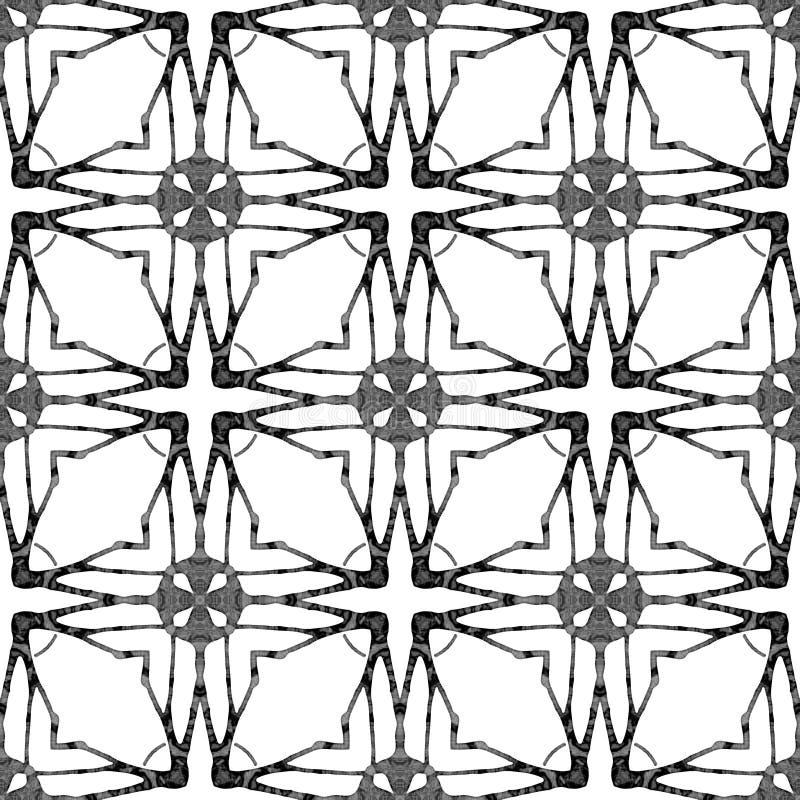 Nahtloses Muster des Schwarzweiss-Medaillons Hand d stock abbildung