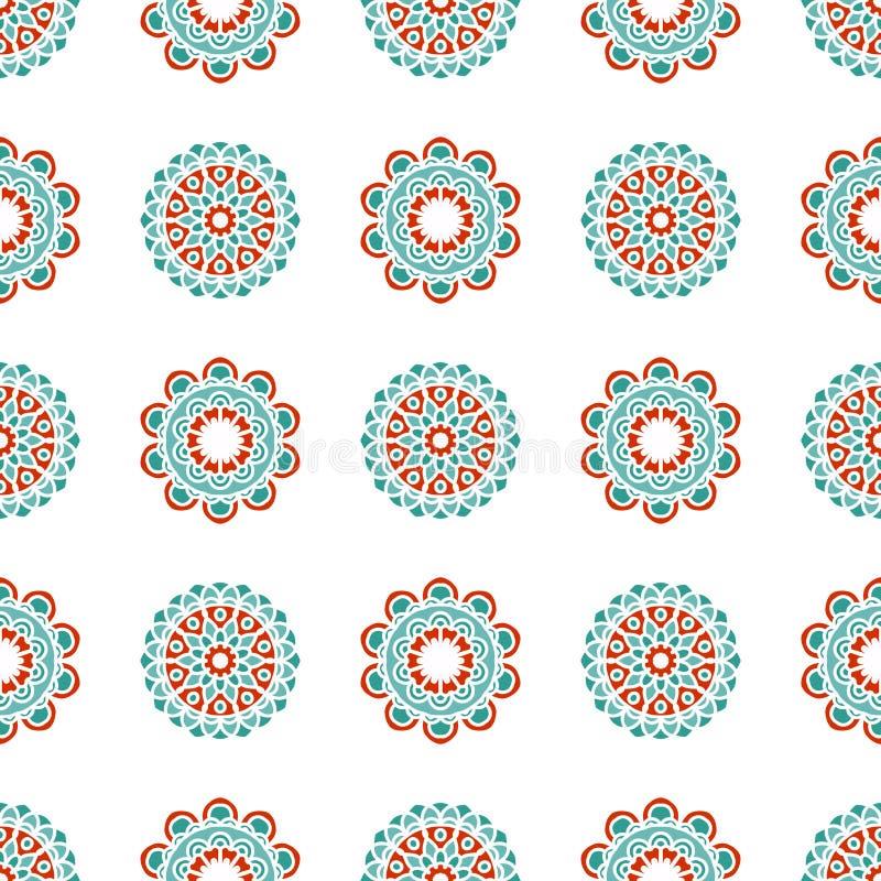 Nahtloses Muster des skandinavischen Blumenvektors Nordischer geometrischer Hintergrund stock abbildung