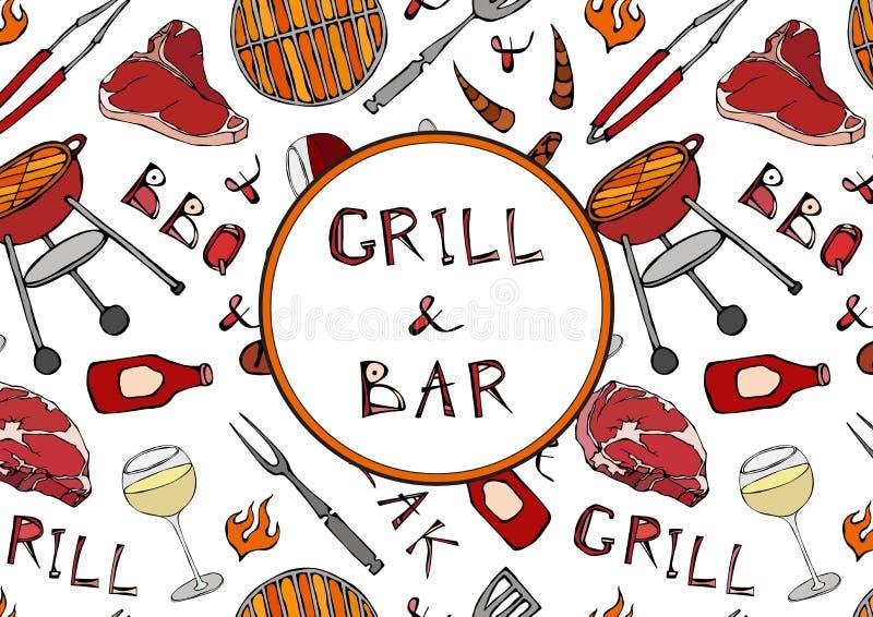 Nahtloses Muster des Sommer-Grills und der Bar-Partei Steak, Wurst, Grill-Gitter, Zangen, Gabel, Feuer, Ketschup Hand gezeichnete vektor abbildung