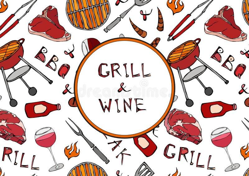 Nahtloses Muster des Sommer-Grills und des Weins Steak, Wurst, Grill-Gitter, Zangen, Gabel, Feuer, Ketschup Hand gezeichnetes Vek stock abbildung