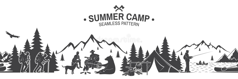 Nahtloses Muster des Sommerlagers Auch im corel abgehobenen Betrag vektor abbildung