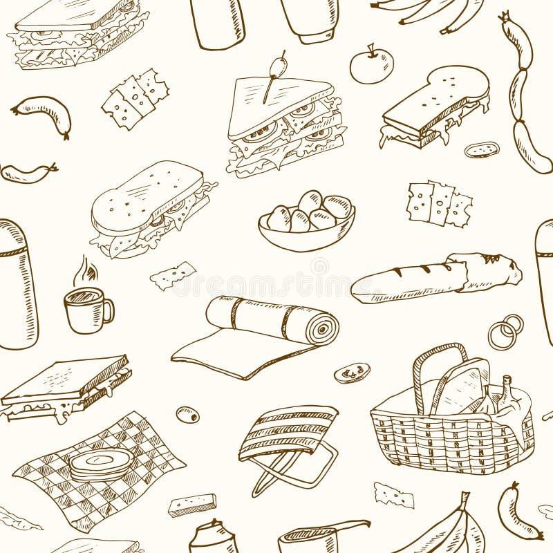 Nahtloses Muster des Sommerpicknick-Gekritzels Verschiedene Mahlzeiten, Getränke, Gegenstände, Sporttätigkeiten lizenzfreie abbildung