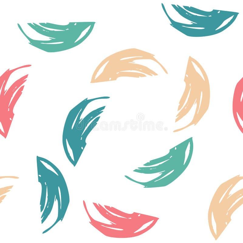 Nahtloses Muster des Sommers mit abstrakter Verzierung Trockene Bürste der bunten Tinte Allein gefrorener Baum Hand gezeichneter  stock abbildung