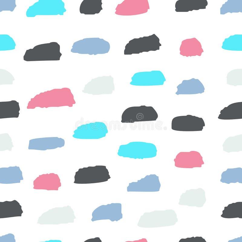 Nahtloses Muster des Sommers mit abstrakter Verzierung Trockene Bürste der bunten Tinte Allein gefrorener Baum Hand gezeichneter  lizenzfreie abbildung
