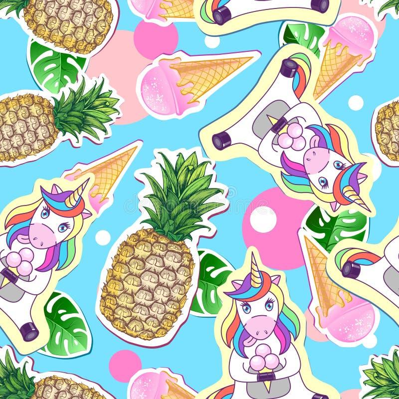 Nahtloses Muster des Sommers mit Einhorn und Ananas Zine-Kultur-Artsommer schnitt Hintergrund heraus vektor abbildung