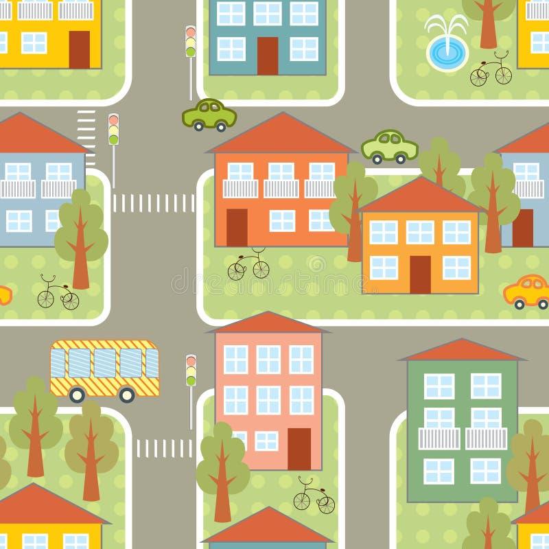 Nahtloses Muster des Stadtverkehrs vektor abbildung