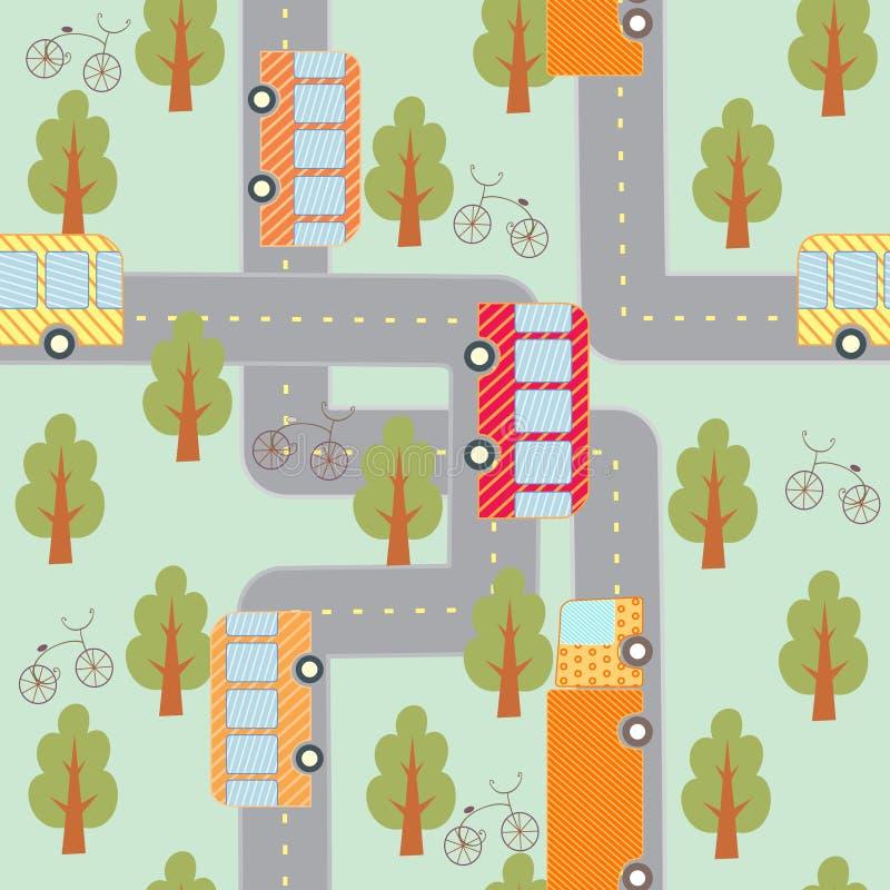 Nahtloses Muster des Stadtverkehrs lizenzfreie abbildung