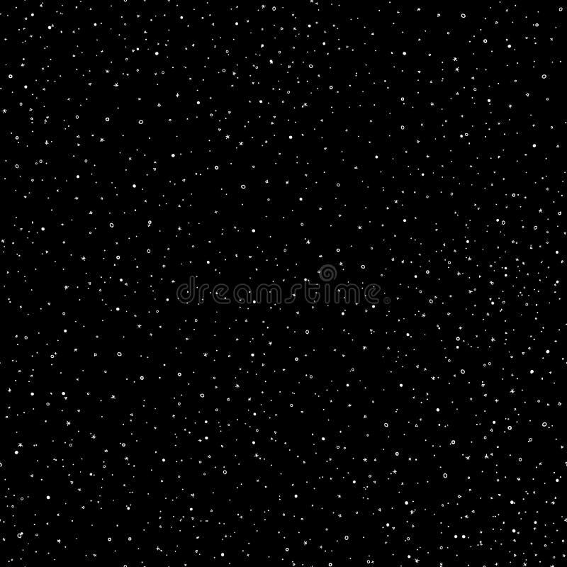Nahtloses Muster des sternenklaren Himmelhandabgehobenen betrages, Gekritzel schellt und kreuzt in der Galaxie und spielt Art - e lizenzfreie abbildung
