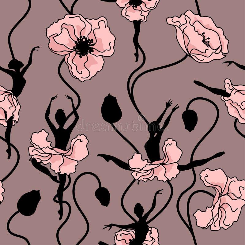 Nahtloses Muster des stilisierten Tanzes der Blumen vektor abbildung