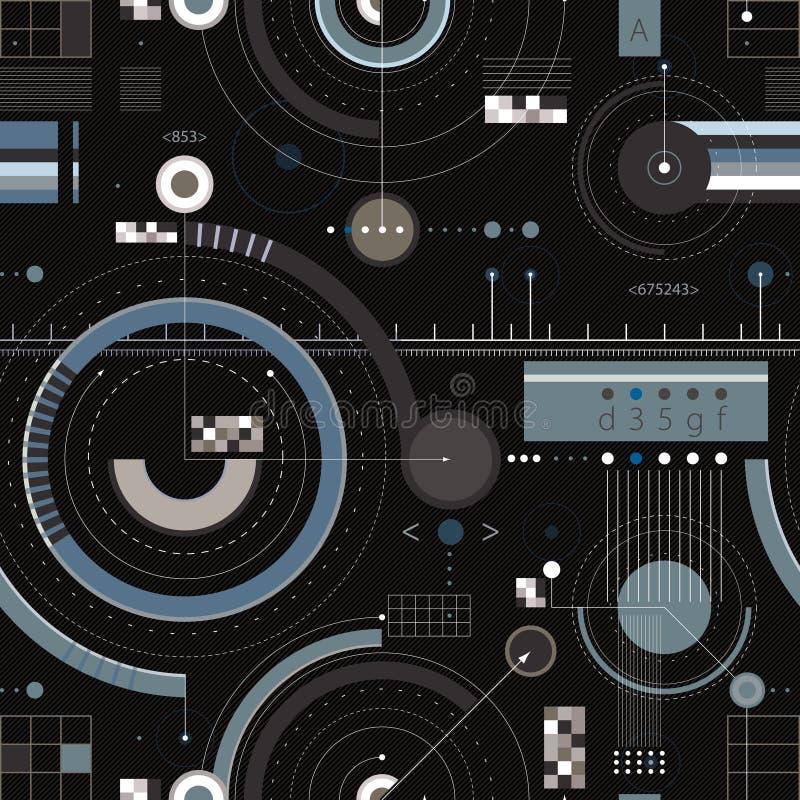 Nahtloses Muster des Technikentwurfs. stock abbildung