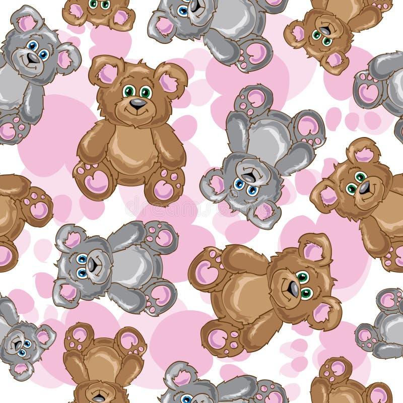 Nahtloses Muster des Teddybärvektors vektor abbildung