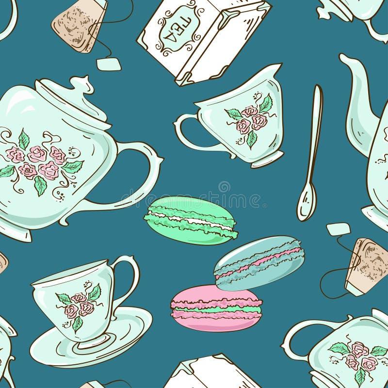 Nahtloses Muster des Teesatzes und der französischen Makronen lizenzfreie abbildung