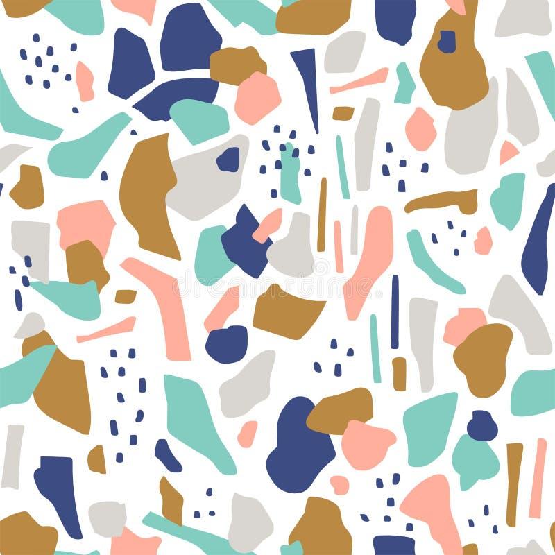 Nahtloses Muster des Terrazzo Abstrakter Hintergrund des Vektors mit Flecken lizenzfreie abbildung
