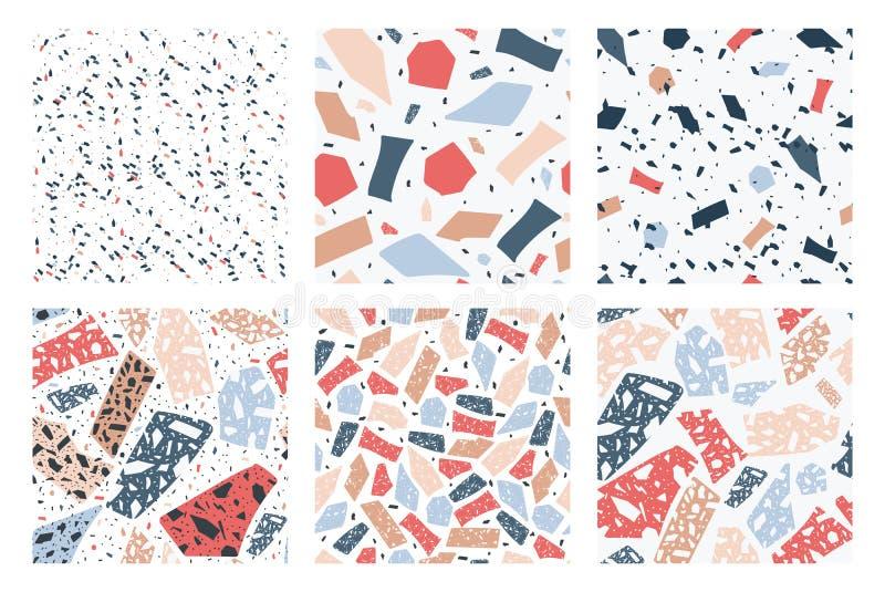 Nahtloses Muster des Terrazzo eingestellt mit geometrischer Tupfenbeschaffenheit der Karikatur vektor abbildung