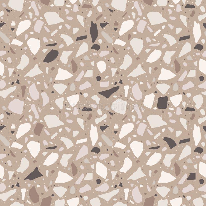 Nahtloses Muster des Terrazzo Fliese mit Kieseln und Stein Abstrakter Beschaffenheitshintergrund für Packpapier, Tapete, Terrazzo vektor abbildung
