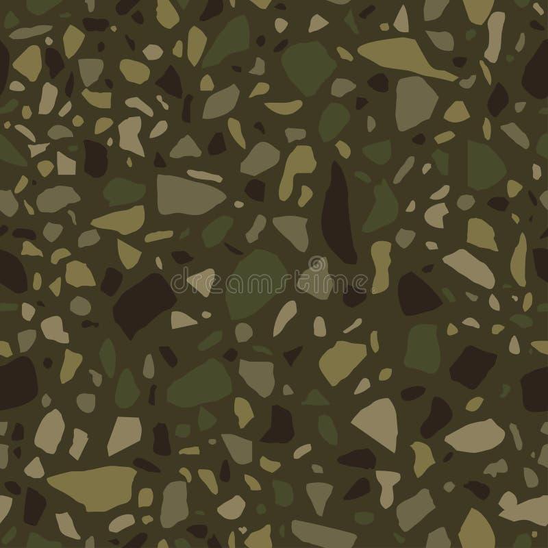 Nahtloses Muster des Terrazzo Fliese mit Kieseln und Stein Abstrakter Beschaffenheitshintergrund für Packpapier, Tapete, Terrazzo stock abbildung