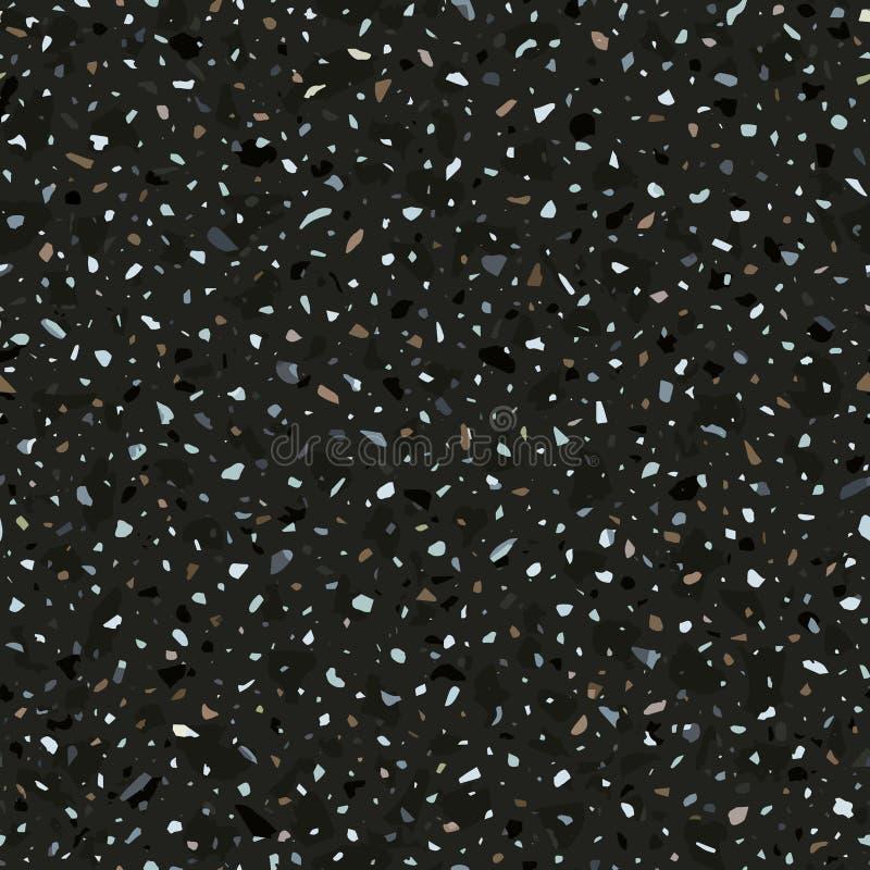 Nahtloses Muster des Terrazzobodenbelag-Vektors in den dunklen Farben stock abbildung