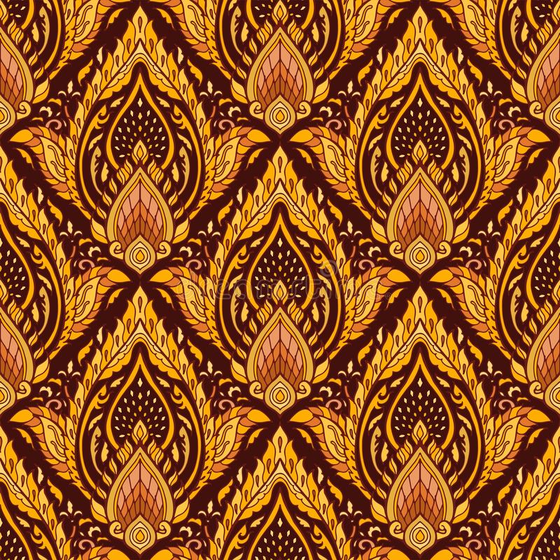 Nahtloses Muster des thailändischen königlichen luxuriösen Verzierungs-Entwurfs Boho mit gelbem braunem Goldenem vektor abbildung