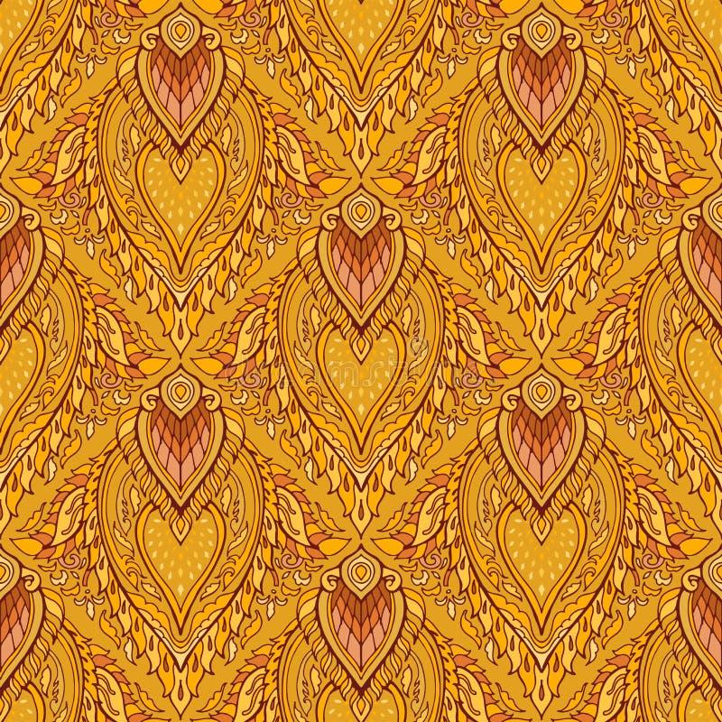 Nahtloses Muster des thailändischen königlichen luxuriösen Verzierungs-Entwurfs Boho mit gelbem braunem Goldenem stock abbildung