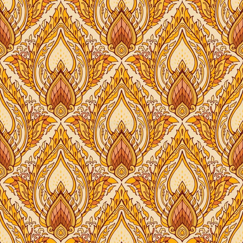 Nahtloses Muster des thailändischen königlichen luxuriösen Verzierungs-Entwurfs Boho mit gelbem braunem Goldenem lizenzfreie abbildung