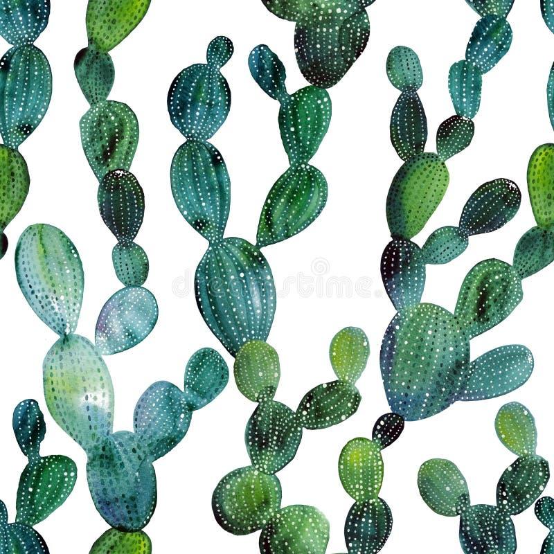 Nahtloses Muster des tropischen Gartens des Aquarellkaktus Watercolourkaktus vektor abbildung