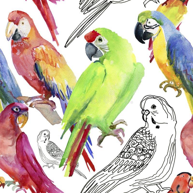 Nahtloses Muster des tropischen Papageien Altes gelbes Papier auf dunklem Hintergrund lizenzfreie abbildung