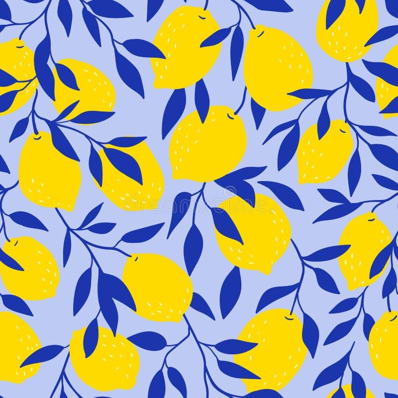 Nahtloses Muster des tropischen Vektors mit gelben Zitronen auf dem blauen Hintergrund Frucht wiederholter Hintergrund lizenzfreie abbildung