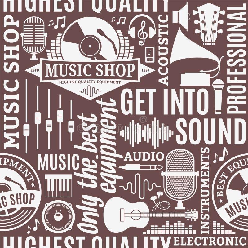 Nahtloses Muster des typografischen Vektormusik-Shops stock abbildung