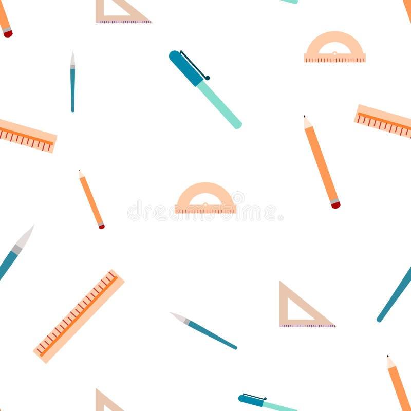 Nahtloses Muster des unterschiedlichen Schulmaterials Getrennt auf einem wei?en Hintergrund lizenzfreie abbildung