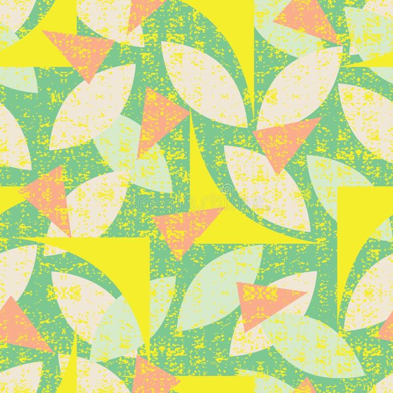 Nahtloses Muster des Vektorgrüns von bunten abstrakten geometrischen Formen mit Schmutzbeschaffenheit Passend für Gewebe, Geschen stock abbildung