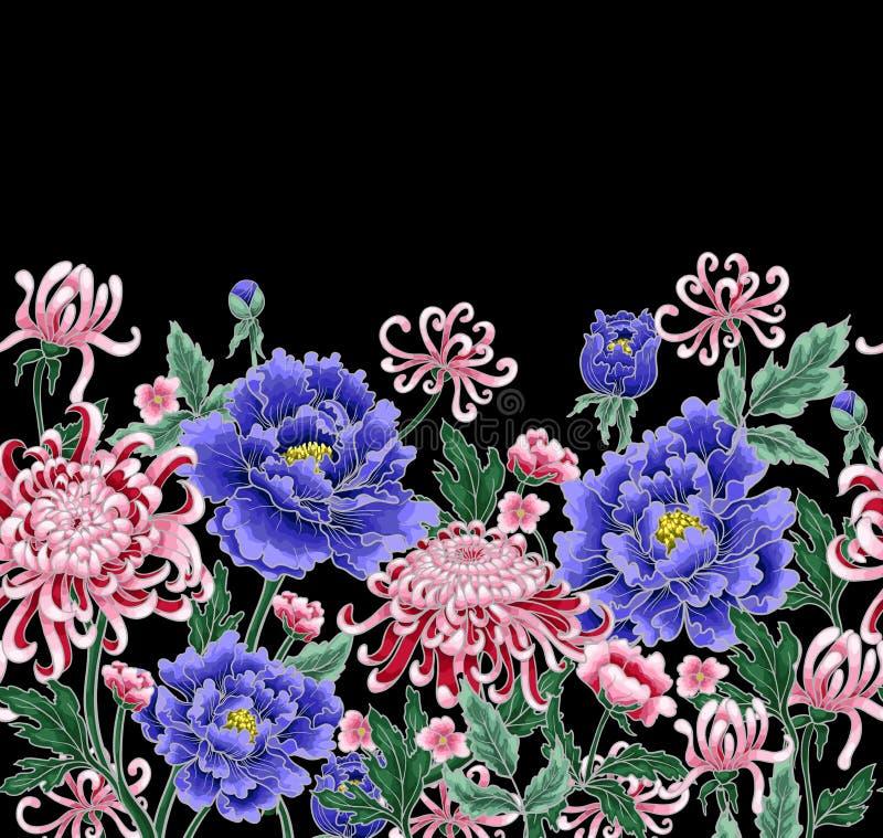 Nahtloses Muster des Vektorhandabgehobenen betrages der Chrysantheme und der Pfingstrosen lizenzfreie abbildung