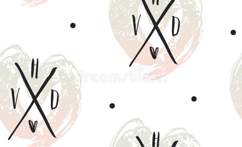 Nahtloses Muster des Vektorherzens Roter rosa Hintergrund St.-Valentinsgrußes von Herzen übergeben gezogene Kunstikonen Design fü vektor abbildung