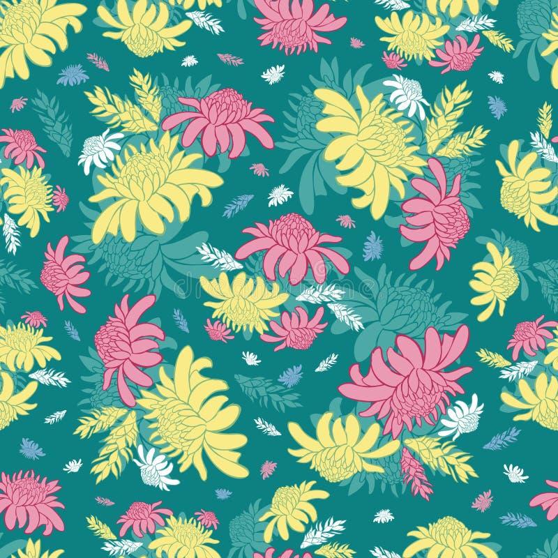 Nahtloses Muster des Vektorknickenten-Grüns mit tropischen Fackelingwerblumen Passend für Gewebe, Geschenkverpackung und Tapete stock abbildung