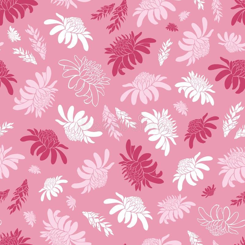Nahtloses Muster des Vektorrosas mit tropischen Fackelingwerblumen Passend für Gewebe, Geschenkverpackung und Tapete vektor abbildung