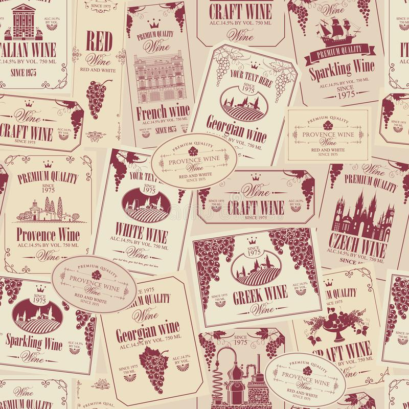 Nahtloses Muster des Vektors auf dem Thema des Weins mit verschiedenen Weinaufklebern mit Bildern von Trauben, Landschaften, Wein lizenzfreie abbildung