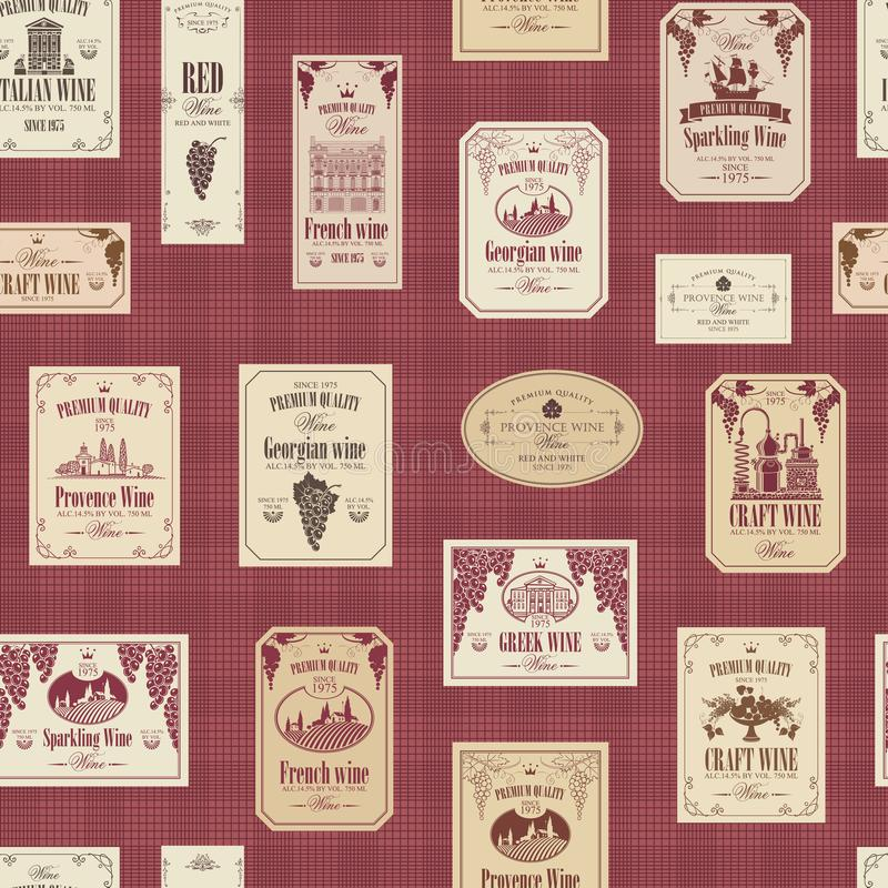 Nahtloses Muster des Vektors auf dem Thema des Weins mit verschiedenen Weinaufklebern mit Bildern von Trauben, Landschaften, Wein stock abbildung