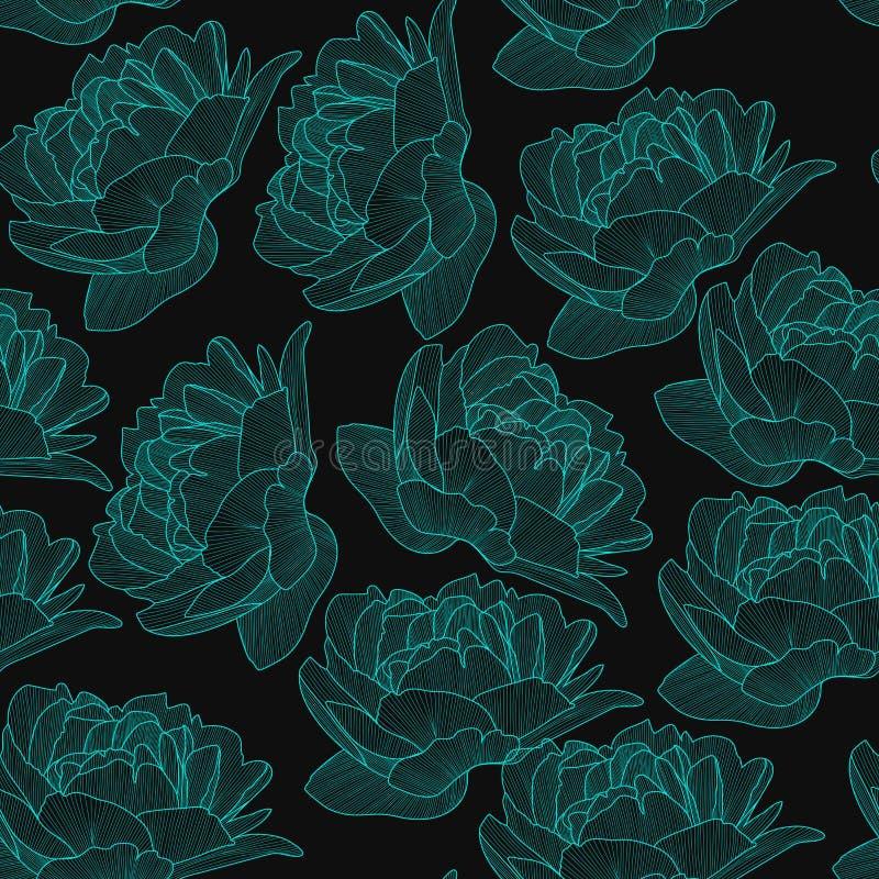 Nahtloses Muster des Vektors, Beschaffenheit mit Handgezogenen Blumen, Pions auf dem dunklen farbigen Hintergrund Eleganter, roma stock abbildung