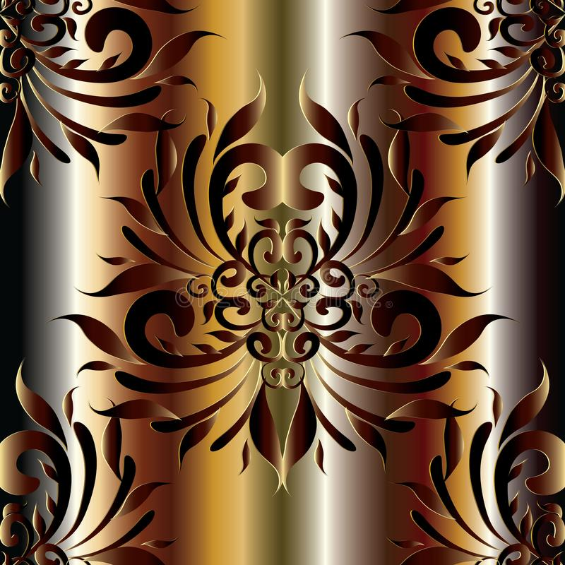 Nahtloses Muster des Vektors des Damastes 3d Silk Drapierung Blumen-backgroun vektor abbildung