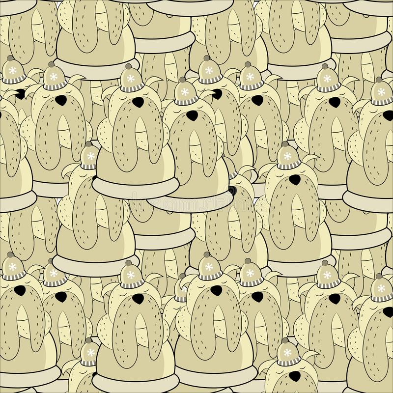 Nahtloses Muster des Vektors der Hand gezeichneten Bulldogge Symbole des neuen Jahres 2018 stockfoto