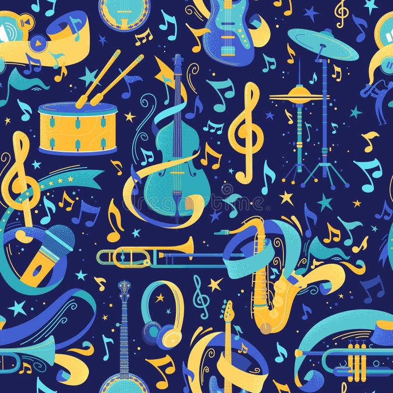 Nahtloses Muster des Vektors der Musikinstrumente flach lizenzfreie abbildung