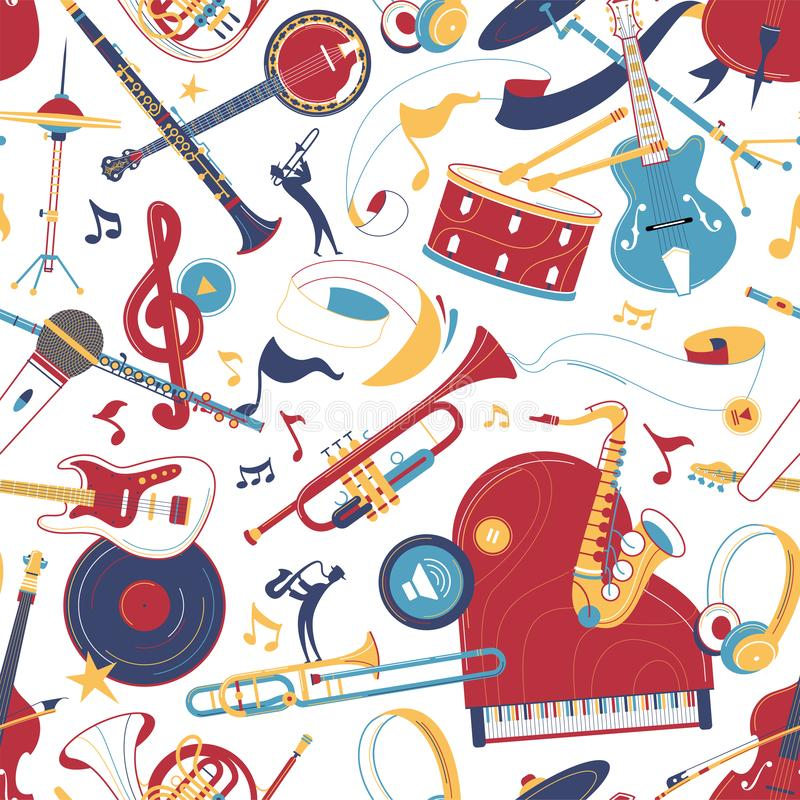 Nahtloses Muster des Vektors der Musikinstrumente flach stock abbildung