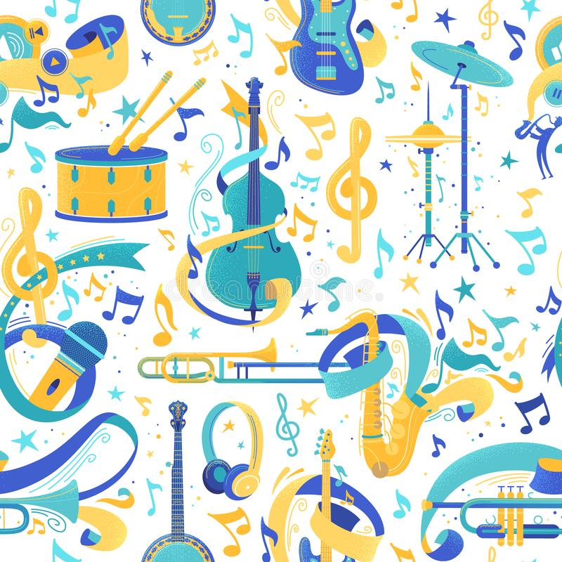 Nahtloses Muster des Vektors der Musikinstrumente flach vektor abbildung