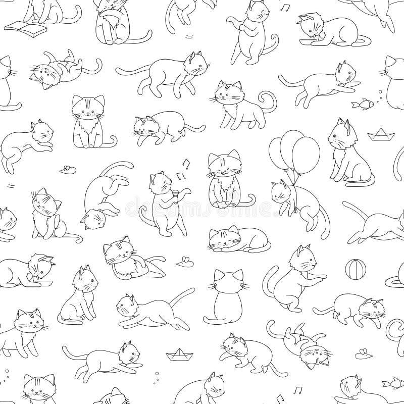 Nahtloses Muster des Vektors der netten Karikaturartkatze in den verschiedenen Haltungen stock abbildung
